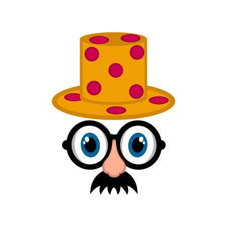 Isolated funny disguise mask. April fool day. Vector illustration design