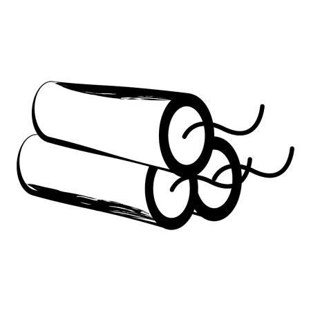 Dibujo aislado de una dinamita. Diseño de ilustración vectorial