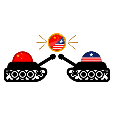 American and chinese army tanks with flags. Vector illustration design