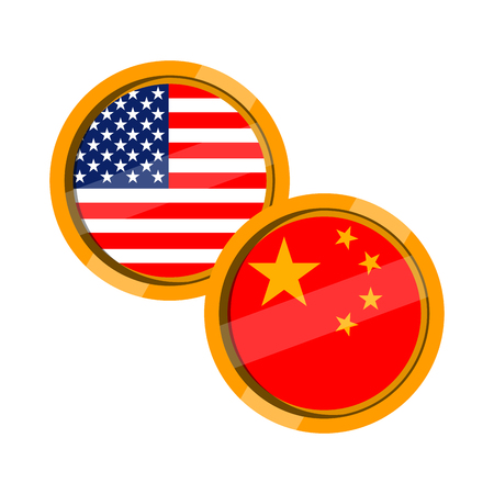 Flag buttons of United States and China. Vector illustration design