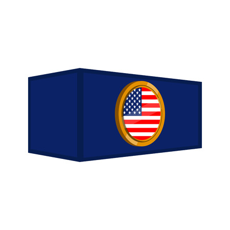 Container with a flag button of United States. Vector illustration design Illustration
