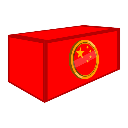 Container with a flag button of United China. Vector illustration design Illustration