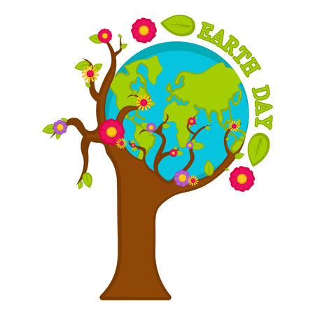 Planet Earth on a tree. Earth day. Vector illustration design