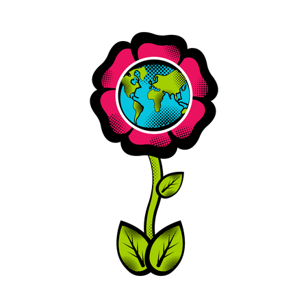 Sketch of planet Earth on a blossom flower. Earth day. Vector illustration design
