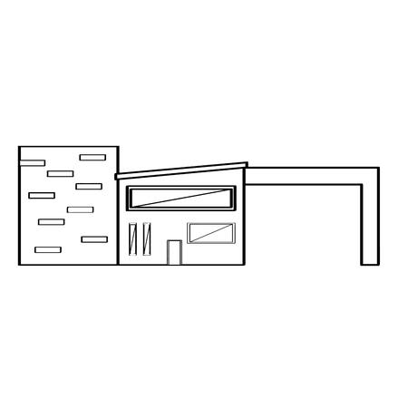 Outline of a modern house building. Vector illustration design