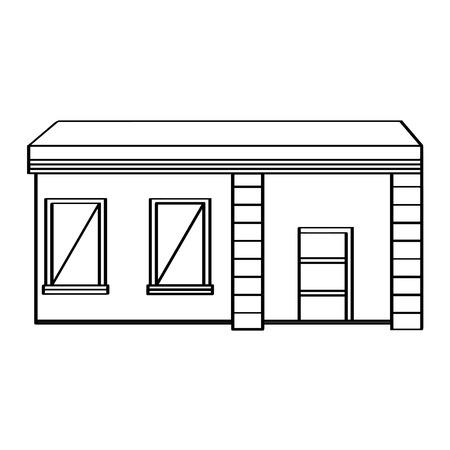 Outline of a modern house building. Vector illustration design Illustration