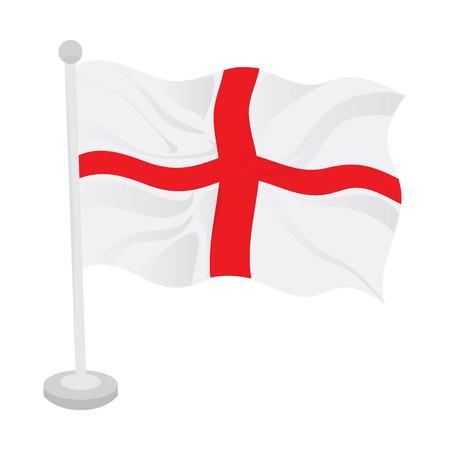 Waving flag of England on a flagpole. Vector illustration design