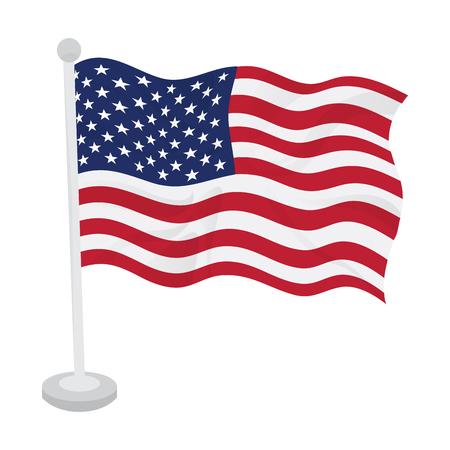Wapperende vlag van de Verenigde Staten op een vlaggenmast. Vector illustratie ontwerp