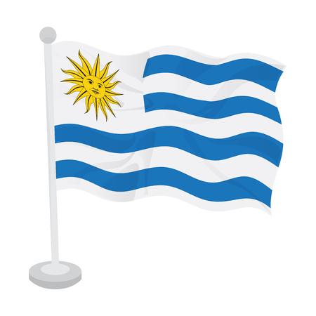 Waving flag of Uruguay on a flagpole. Vector illustration design