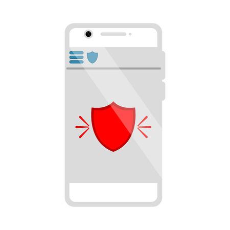 Protection app icon on a smartphone. Vector illustration design Ilustração