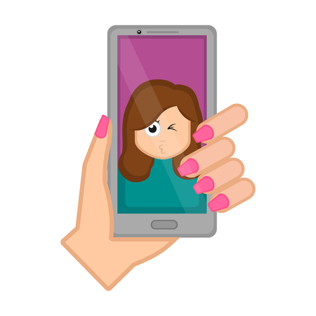 Hand holding a smartphone taking a photo. Vector illustration design Illustration