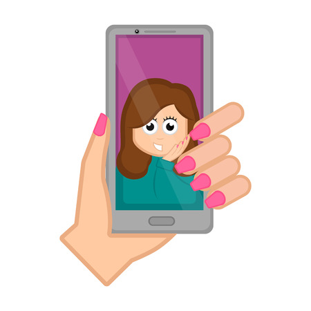 Hand holding a smartphone taking a photo. Vector illustration design