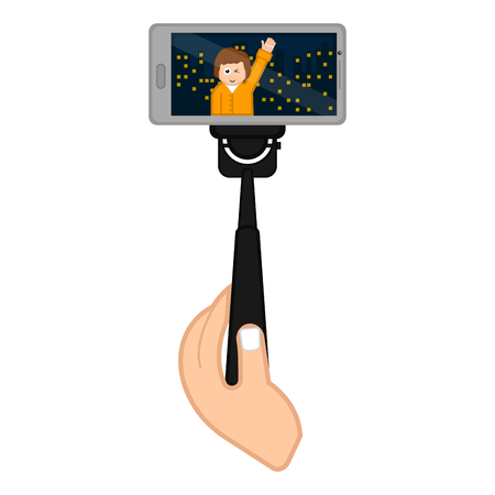Smartphone on a selfiestick taking a photo. Vector illustration design