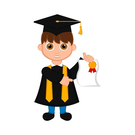 Cute graduated boy image. Vector illustration design