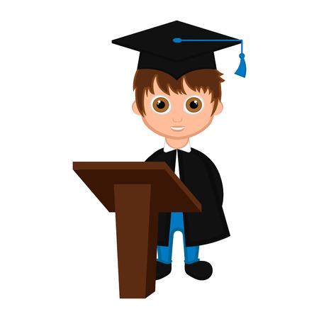 Cute graduated boy image. Vector illustration design Illustration