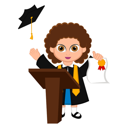Cute graduated girl image. Vector illustration design