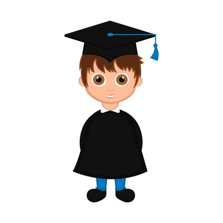 Cute graduated boy image. Vector illustration design  イラスト・ベクター素材