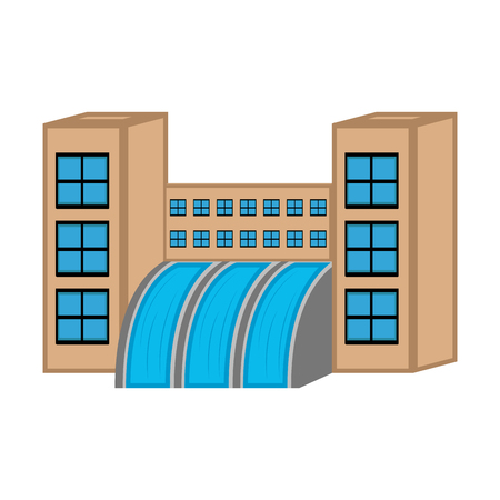Hydroelectric power station image. Vector illustration design
