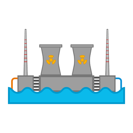 Hydroelectric and nuclear power station image. Vector illustration design