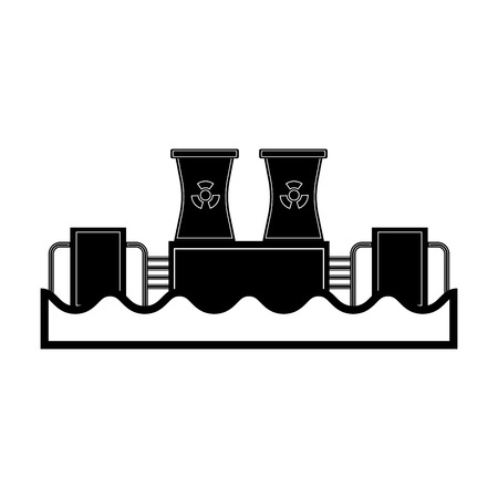 Hydroelectric and nuclear power station icon. Vector illustration design