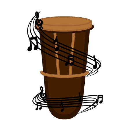 Isolated conga drum with a musical pentagram around. Vector illustration design