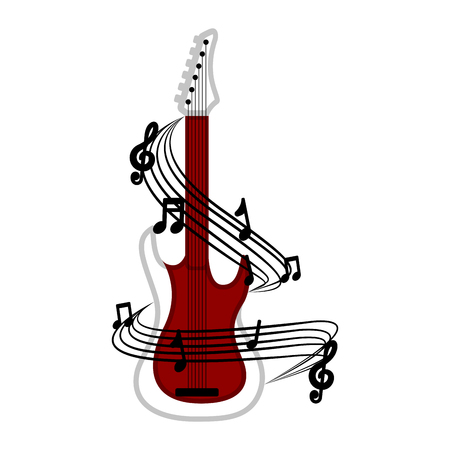 Isolated electric guitar with a musical pentagram around. Vector illustration design Archivio Fotografico - 124026663