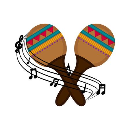Isolated maracas with a musical pentagram around. Vector illustration design Illustration
