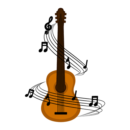 Isolated acoustic guitar with a musical pentagram around. Vector illustration design Illustration