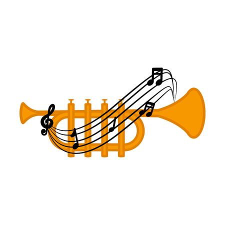 Isolated trumpet with a musical pentagram around. Vector illustration design Archivio Fotografico - 124026665