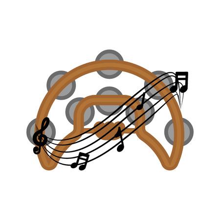 Isolated tambourine with a musical pentagram around. Vector illustration design Archivio Fotografico - 124026666