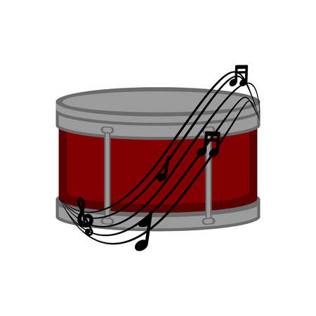 Isolated drum with a musical pentagram around. Vector illustration design