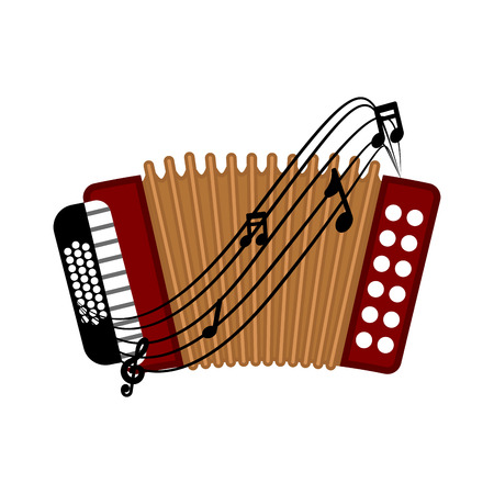 Isolated accordion with a musical pentagram around. Vector illustration design