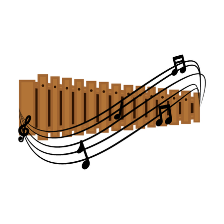 Islated xylophone with a musical pentagram around. Vector illustration design