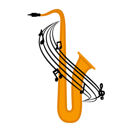 Isolated saxophone with a musical pentagram around. Vector illustration design Illustration