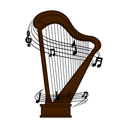 Isolated harp with a musical pentagram around. Vector illustration design Illustration