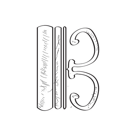 Isolated tenor clef sketch. Comic musical note. Vector illustration design