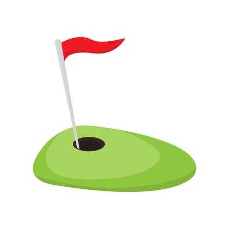 Buca da golf con bandiera rossa. Disegno di illustrazione vettoriale Vettoriali