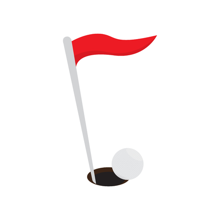 Golf hole with a red flag and ball. Vector illustration design