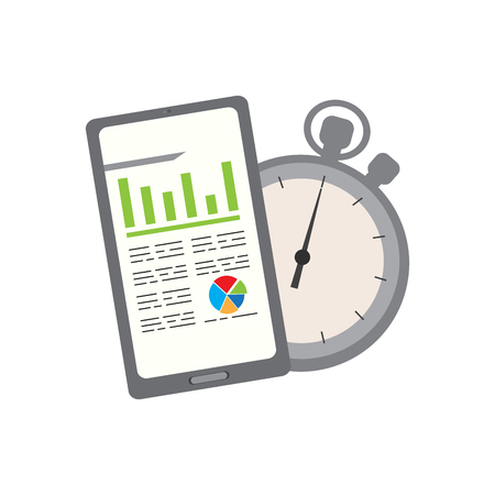 Business report in a tablet with a chronometer. Vector illustration design  イラスト・ベクター素材