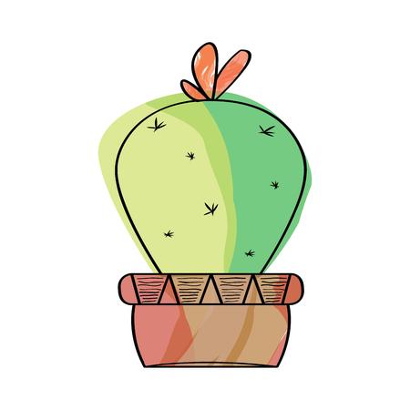Watercolor cactus in a pot plant. VEctor illustration design