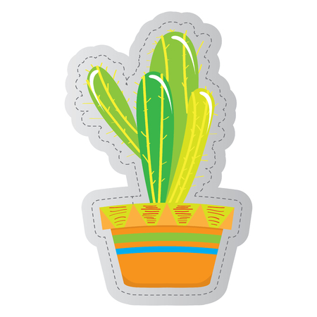 Dotted sticker of a cactus. Vector illustration design 向量圖像