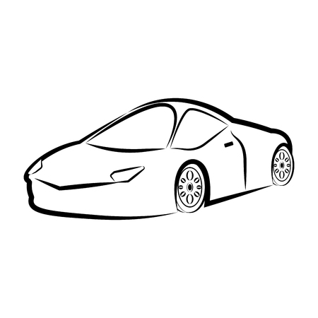 Isolated racing car sketch. Vector illustration design Иллюстрация