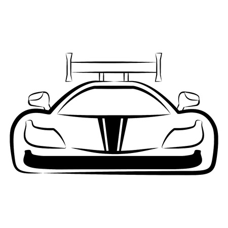 Front view of a racing car sketch. Vector illustration design