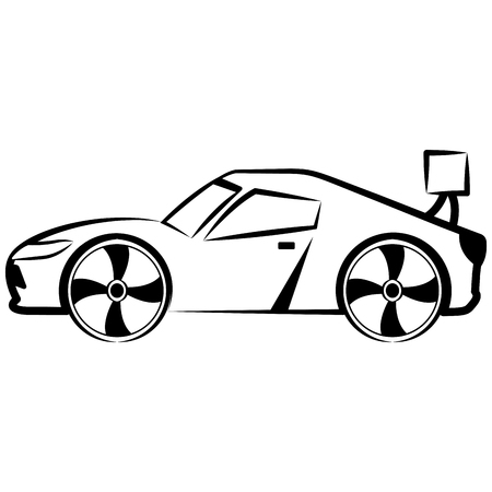Side view of a racing car sketch. Vector illustration design
