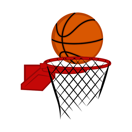 Basketball net with a ball. Vector illustration design Vektorgrafik