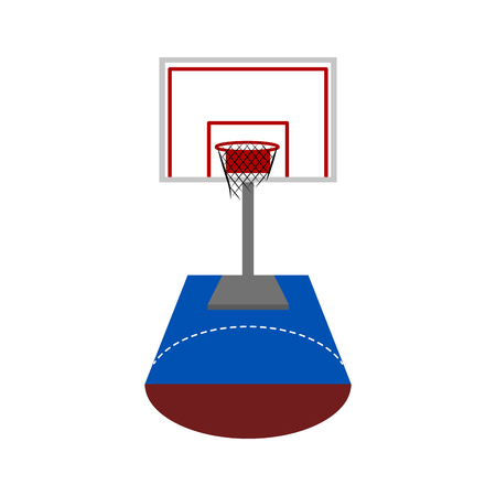 Front view of a basketball half court. Vector illustration design 向量圖像