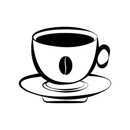 Ikona na białym tle filiżanka kawy. Projekt ilustracji wektorowych