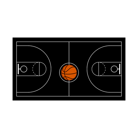 Aerial view of a basketball court. Vector illustration design 向量圖像