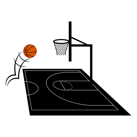 Side view of a basketball half court. Vector illustration design 向量圖像
