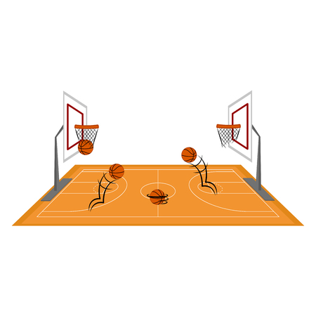 Side view of a basketball court. Vector illustration design